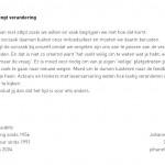 'Ervaring brengt verandering' zomerkaart 2012 achterzijde